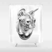 sphynx Shower Curtains featuring Sphynx  by KittyHatesIt