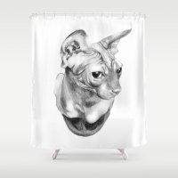 sphynx Shower Curtains featuring Sphynx  by KittyHatesIt
