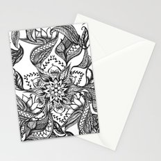 Modern black and white floral mandala illustration Stationery Cards