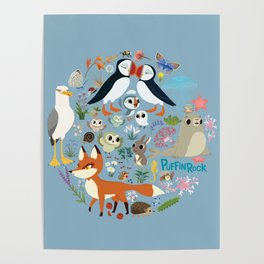 Puffin Friends - Blue Poster