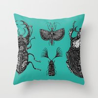 insects Throw Pillows featuring Insects by Ejaculesc