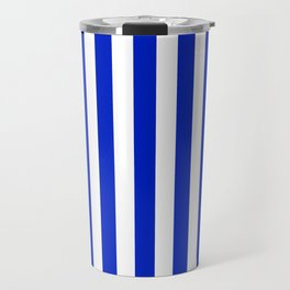 Cobalt Blue and White Vertical Beach Hut Stripe Travel Mug