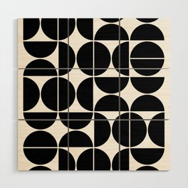 Mid Century Modern Geometric 04 Black Wood Wall Art