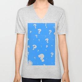 Question marks blue pattern Unisex V-Neck