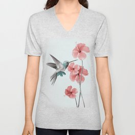 Hummingbird with Hibiscus Unisex V-Neck
