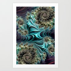 Aqua Spirals Art Print