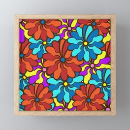 floral background. field of multi colored bright summer colors for the background Framed Mini Art Print