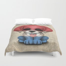 Cute Puppy Dog with flag of Croatia Duvet Cover