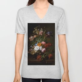 Rachel_Ruysch_-_Vase_with_Flowers_-_1700_-_Mauritshuis_151.jpg Unisex V-Neck