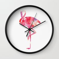 flamingo Wall Clocks featuring Flamingo by Andreas Lie