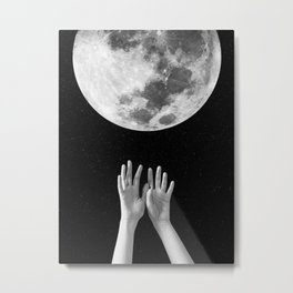 Moon, Hands, Space, Stars, Collage, Modern, Minimal Art Print Metal Print