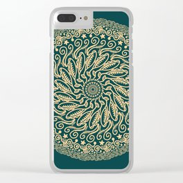 Mandala Project 255 | Gold on Forest Green Clear iPhone Case