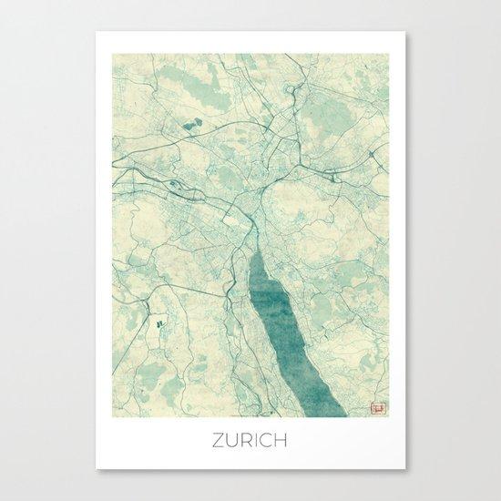 Zurich Map Blue Vintage Canvas Print