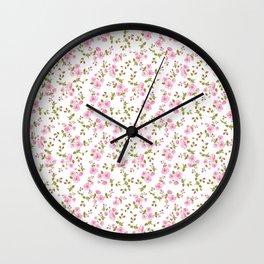 Vintage girly pink bohemian floral illustration Wall Clock