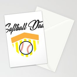 Softball And Dad For Men - Fathers Day Gifts Stationery Cards