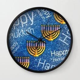 Happy Hanukkah Holidays Menorah Pattern Wall Clock