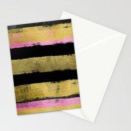 Black Gold Stripes Brushstroke Stationery Cards