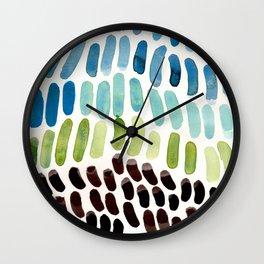 Blue & Green Colorful Aquatic Watercolor Organic Pattern Natural Art Abstract Mid Century Modern Pla Wall Clock