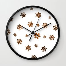 Snowflakes (Bronze and Black on White) Wall Clock