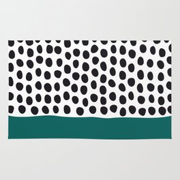 """Elegant Handpainted Polka Dots with """"Shaded Spruce"""", Fall, Autumn Color Rug"""