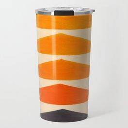 Vintage Scandinavian Orange Geometric Triangle Pattern Travel Mug