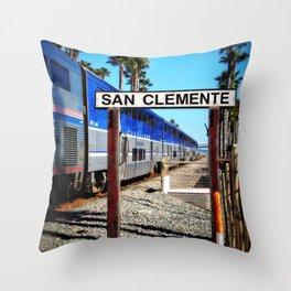 San Clemente Surfliner Throw Pillow