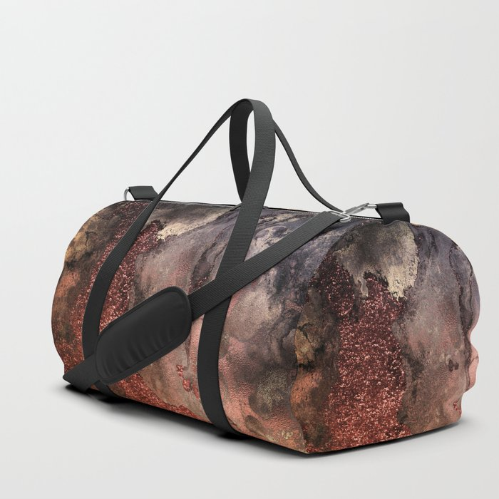 Copper Glitter Stone and Ink Abstract Gem Glamour Marble Duffle Bag