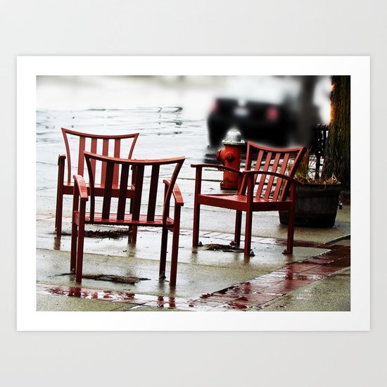 Chairs Arranged in the Rain Art Print