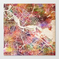 amsterdam Canvas Prints featuring Amsterdam by MapMapMaps.Watercolors