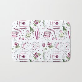 Love Note watercolor pattern Bath Mat