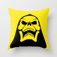 skeletor Throw Pillows featuring Skeletor. by Glassy