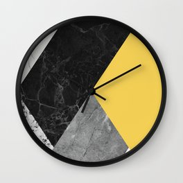 Black and white marbles and pantone primrose yellow color Wall Clock