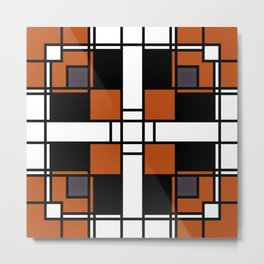 Neoplasticism symmetrical pattern in tangelo Metal Print