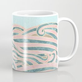 Venetian Waves // Vintage Abstract Pink Blue and Gold Summer Illustration Digital Beach Wall Decor Coffee Mug