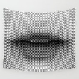 Halftone Lips Wall Tapestry
