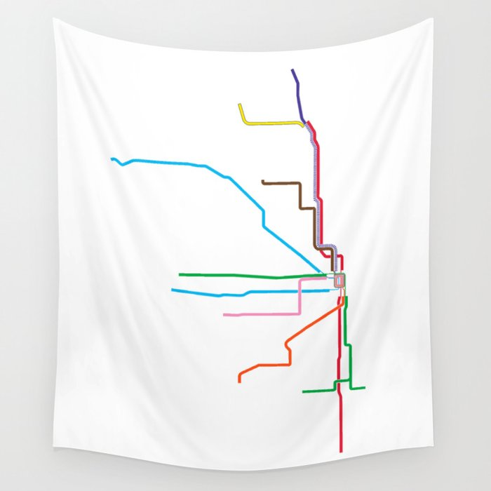 Chicago Subway Map Picture.Chicago Cta Map Chicago Train Map Art Chicago L Train Map Chicago Art Chicago Wall Art Map Art Wall Tapestry By Davidtribby