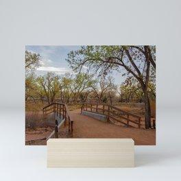Bridge amid cottonwood trees in the Bosque along Rio Grande River in Albuquerque, New Mexico Mini Art Print