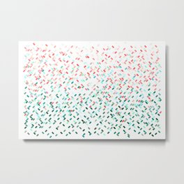 Confetti Basket Red Green Turquoise Metal Print