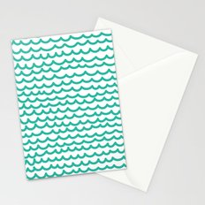 Squiggly Hand Drawn Lines in Mint  Stationery Cards