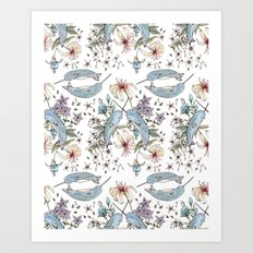 Narwhal pattern Art Print