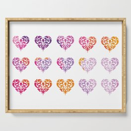Rainbow Watercolor Damask Heart Serving Tray