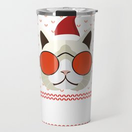 Funny Cat Ugly Christmas Sweater T-Shirt Travel Mug