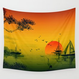 Japanese Sunset Oriental Asian Style Art Wall Tapestry