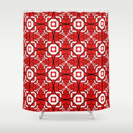 Convergence Pattern - Red on White with Black Shower Curtain