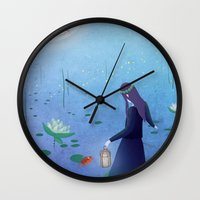 fireflies Wall Clocks featuring Fireflies by germaine caillou
