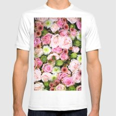Bed of Roses Pink White MEDIUM Mens Fitted Tee White