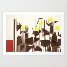 abstract blurred figures Art Print