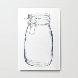 Glass Jar in Watercolor Metal Print