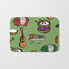 Toy Instruments on Green Bath Mat