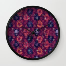 Lotus flower - fire on mulberry woodblock print style pattern Wall Clock